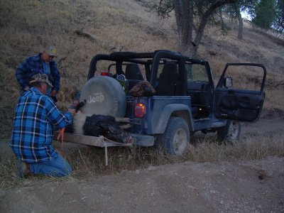 Bert loading the Jeep